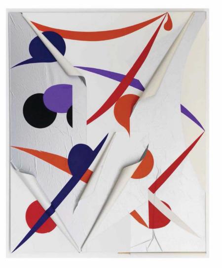 Untitled, 2010,  Papier auf grundierter Leinwand,  240 x 190 cm