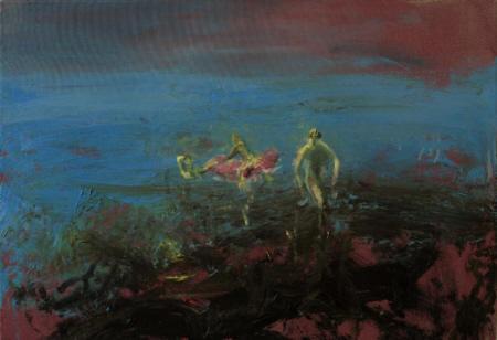 Badende, 2009,  Öl auf Leinwand,  70 x 100 cm
