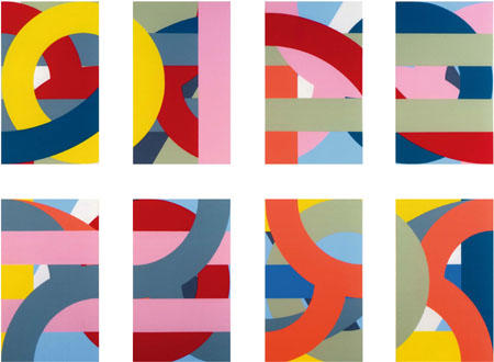 Vier Diptychen, 2008 Acryl auf Leinwand achtteilig 220 x 300 cm