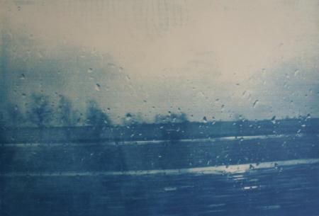 """""""Fahrt"""", 2008, 14-teilig, Cyanotypie auf Büttenpapier, je 55 x 85 cm"""