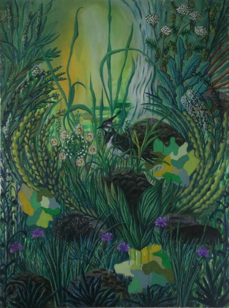 Im Feld und auf der Wiese, 2008,  Öl auf Leinwand, 160 x 120 cm