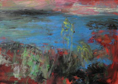 Badende IV, 2006,  Öl auf Leinwand,  50 x 70 cm