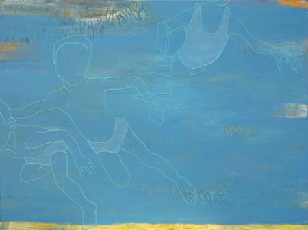 o.T. (Schwimmer), 2009,  Mischtechnik auf Maltuch, 150 x 200 cm