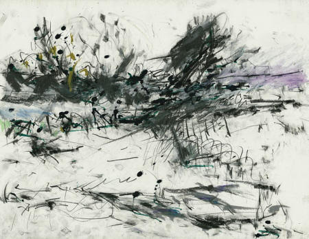 Improvisationen über Seelandschaft V, 2008, Graphit, Ölkreide und Tusche auf Papier,  50 x 65 cm