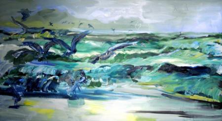 """Seestück mit Möwen"", 2011, Öl auf Leinwand, 140 x 250 cm"