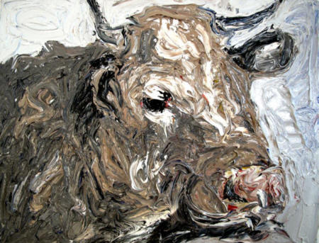 """""""Stierkopf"""" I + II, 2011, Öl auf Leinwand, 40 x 50 cm"""