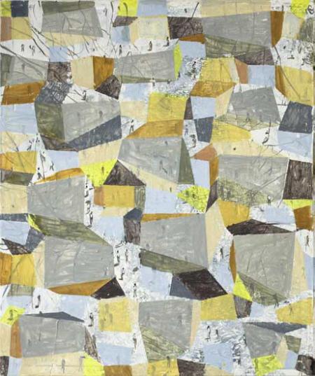 von Oben, 2007/2009,  Ölfarbe auf Leinwand, 120 x 100cm
